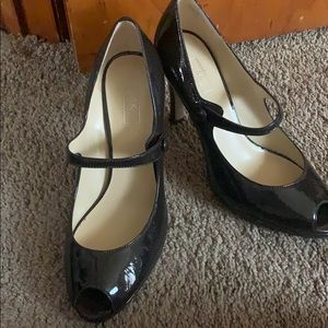 Patent leather open toe pumps
